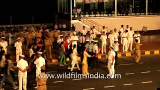 Sri Lankan Navy band contingent marches on Beach Road in Visakhapatnam