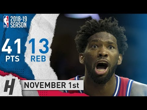 Joel Embiid EPIC Highlights 76ers vs Clippers 2018.11.01 - 41 Pts, 13 Rebounds!