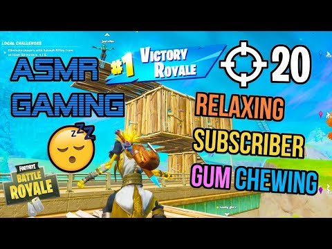 ASMR Gaming 😴 Fortnite Relaxing Subscriber Squad Gum Chewing 🎧🎮 Controller Sounds + Whispering 💤