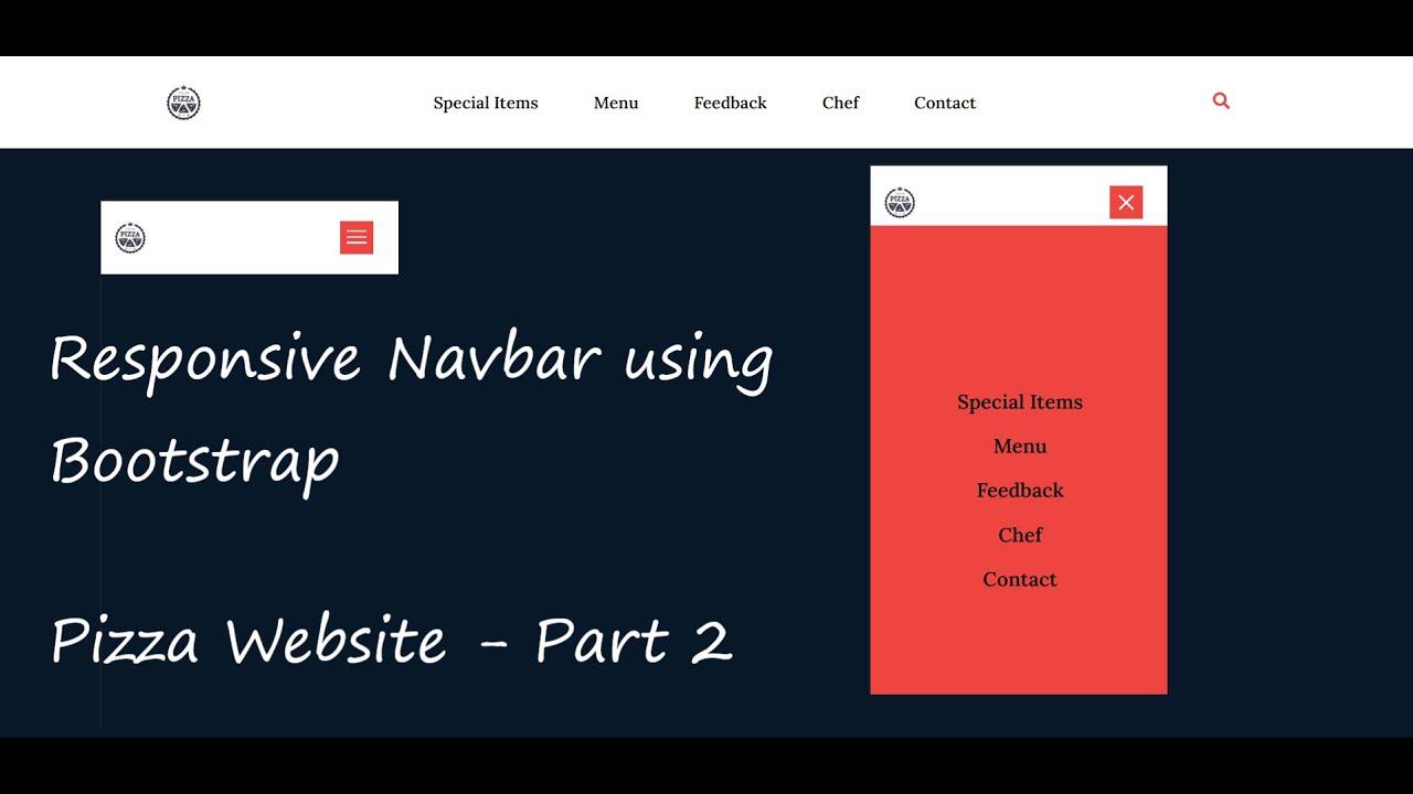 Responsive Navbar using HTML, CSS, Bootstrap, jQuery - Pizza Website | Part 2
