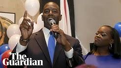 Democrat Andrew Gillum speaks after surprise victory in Florida primary