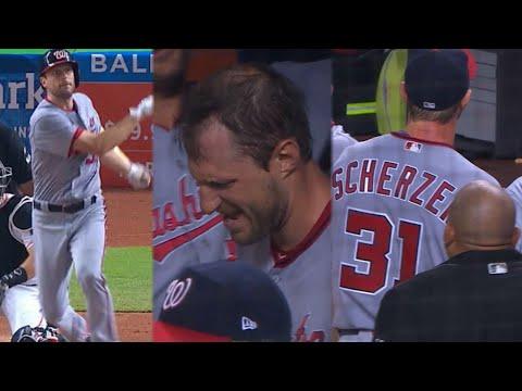 WSH@MIA: Scherzer hits first career homer, exits game