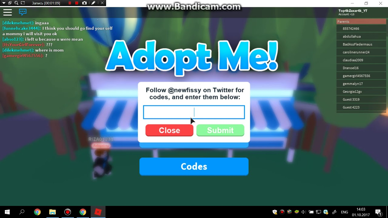 codes for roblox adopt me 2018 october