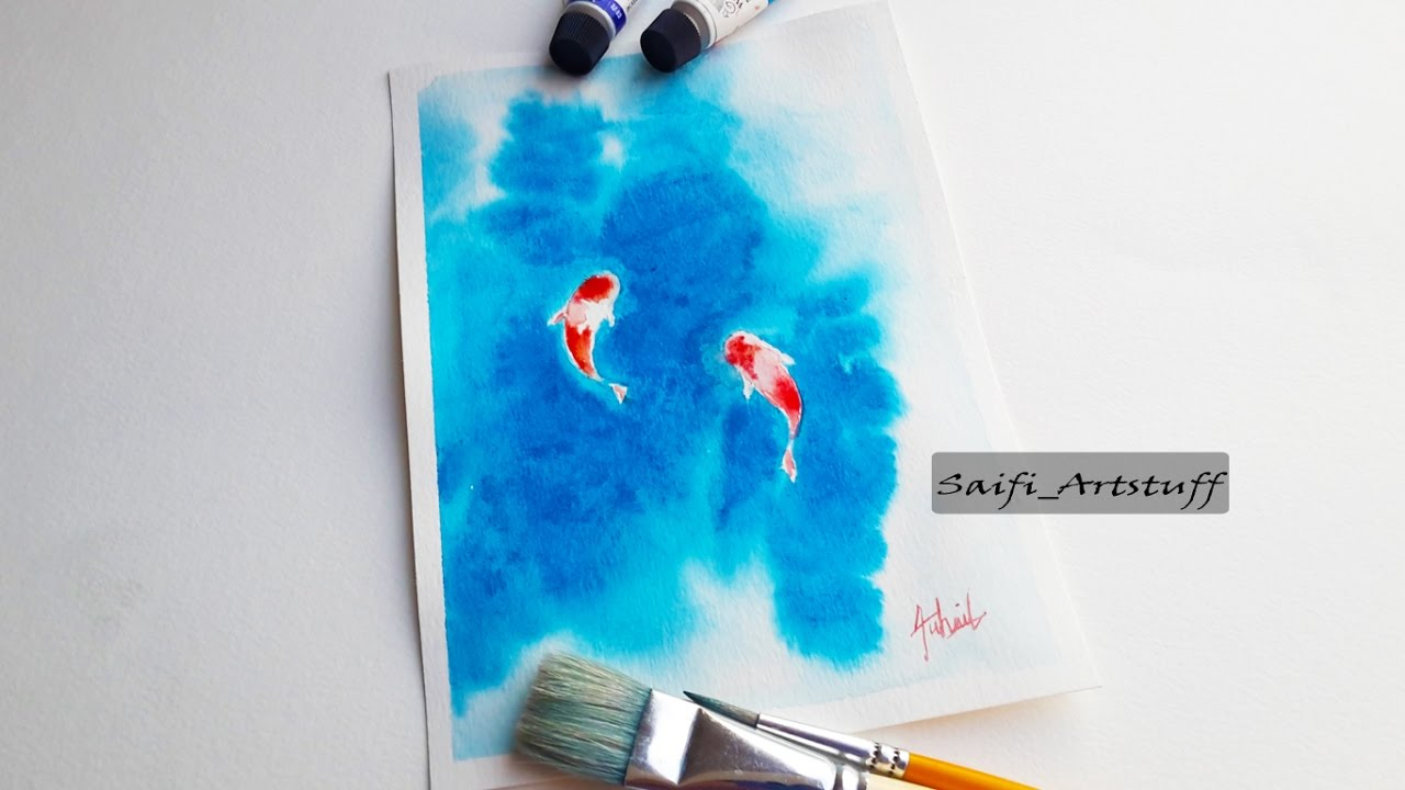 How to super easy paint koi fish with watercolor by saifi for Fish out of water watercolor