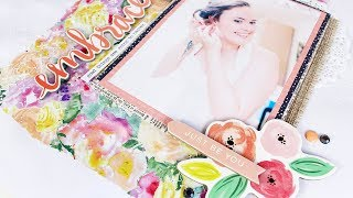DECORATIVE TISSUE PAPER WEDDING SCRAPBOOK LAYOUT.