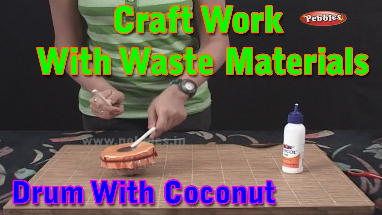 Drums craft work with waste materials learn craft for for Craft work from waste items