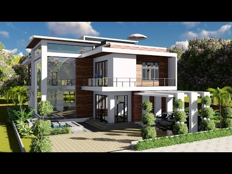 Sketchup Modeling + Lumion Render 2 stories Villa Design Size 13.8x19m 4bedroom