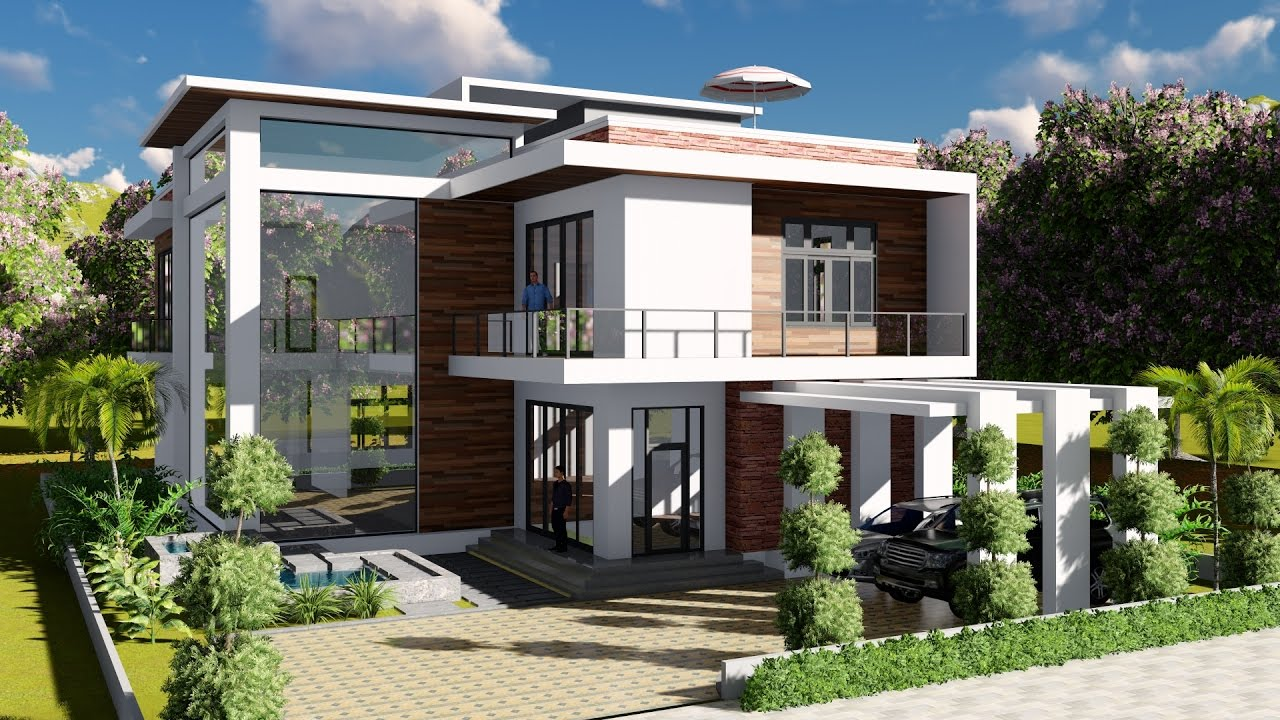 Sketchup modeling lumion render 2 stories villa design for Villa de luxe design
