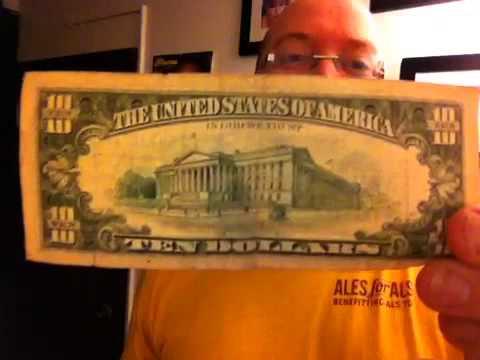 Old 10 Dollar Bill In Change