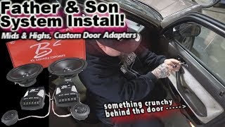Father & Son Fun First Car Stereo Install 1990 Honda Accord - Mids & Highs Custom Door Rings Video 4