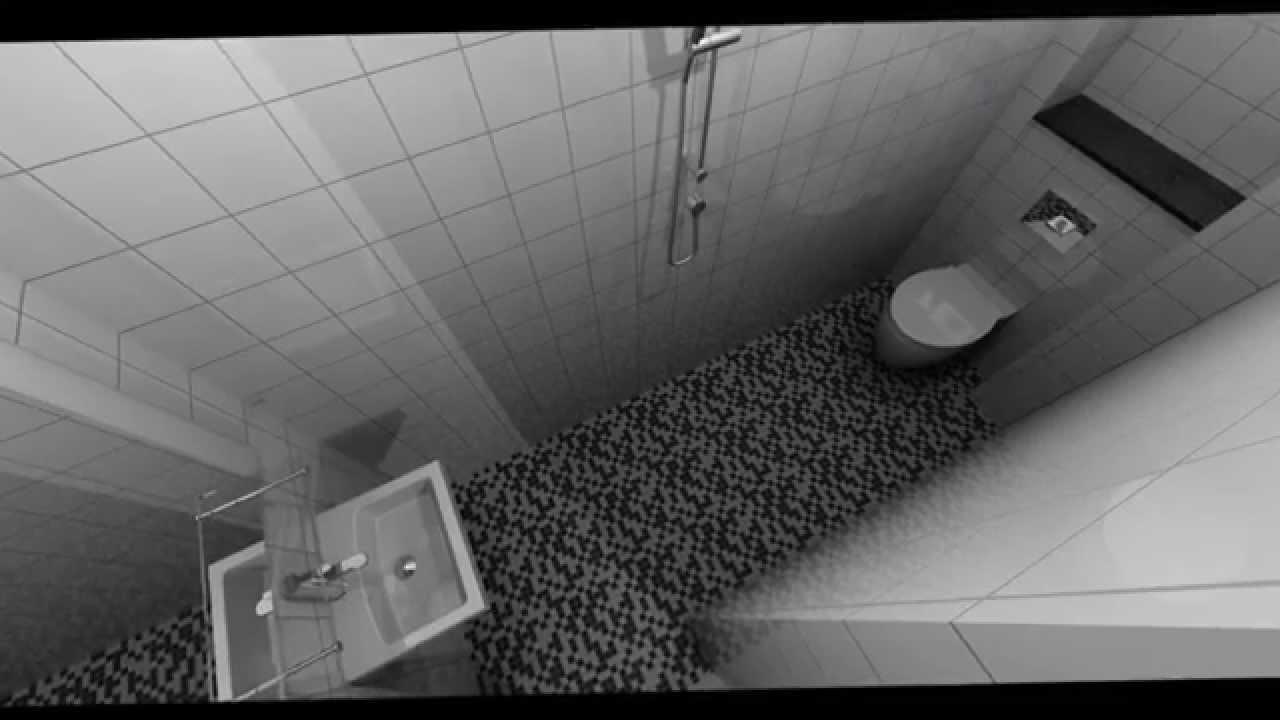 3D Bad indretning, Hvid blank 15x15, Mosaikgulv - YouTube
