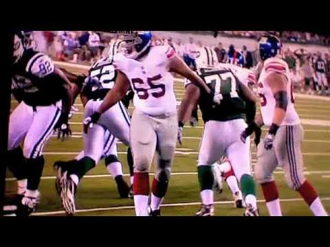 Eli Manning Gets Hit by Calvin Pace