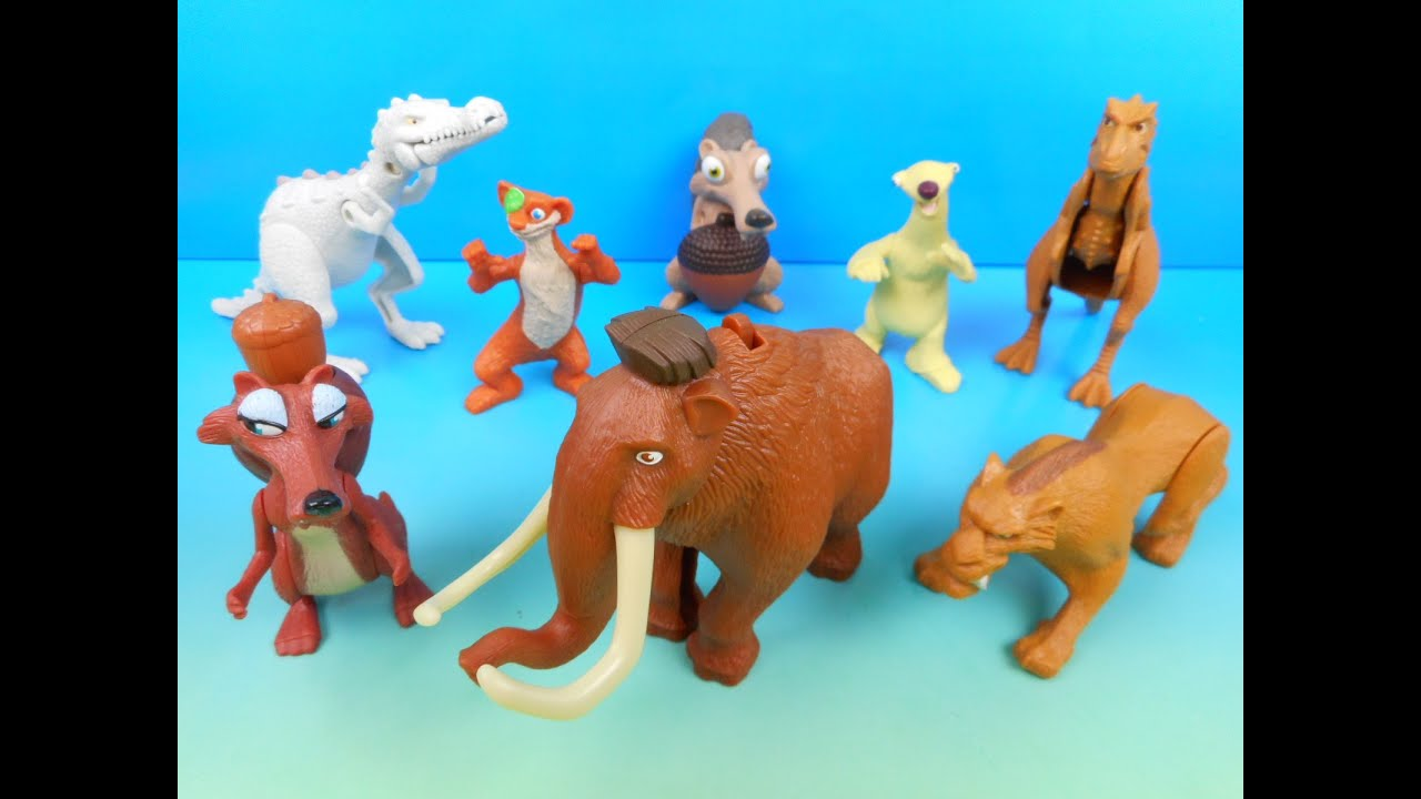 2009 ICE AGE 3 DAWN OF THE DINOSAURS SET OF 8 McDONALD S HAPPY