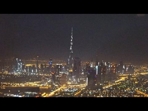 Airbus A-380 Emirates Take-off at Night in Dubai Flight EK302 to Shanghai