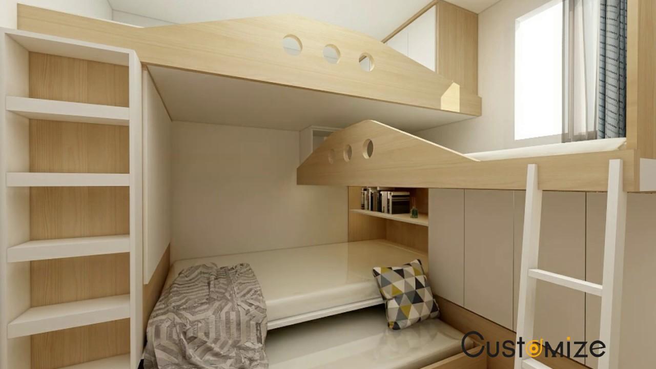 Space-saving Furniture 香港50呎睡房點樣設計?慳位設計上下床榻榻米組合床櫃碌架床傢俬訂做地臺床子母床床頭櫃 ...