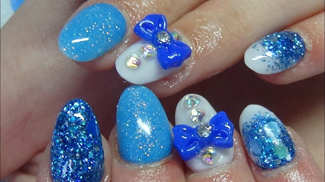 Blue & white prom nails (acrylic nails) - YouTube