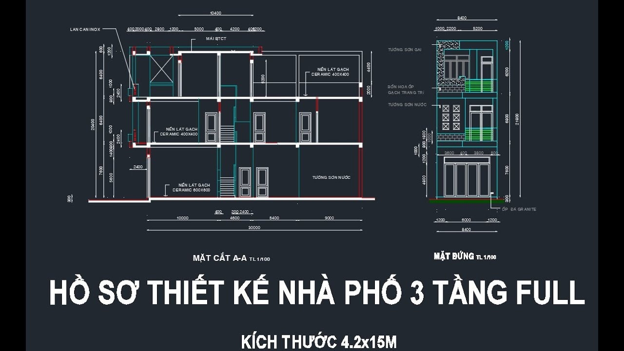 BẢN VẼ THIẾT KẾ – Mẫu nhà phố 3 tầng – KT 4,2x15m