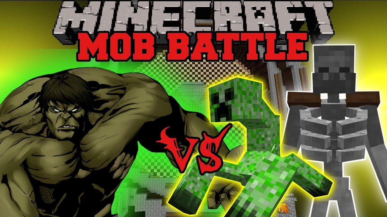 MUTANT SKELETON AND MUTANT CREEPER VS HULK - MInecraft Mod Battle - Mob  Battles - Superhero Mod