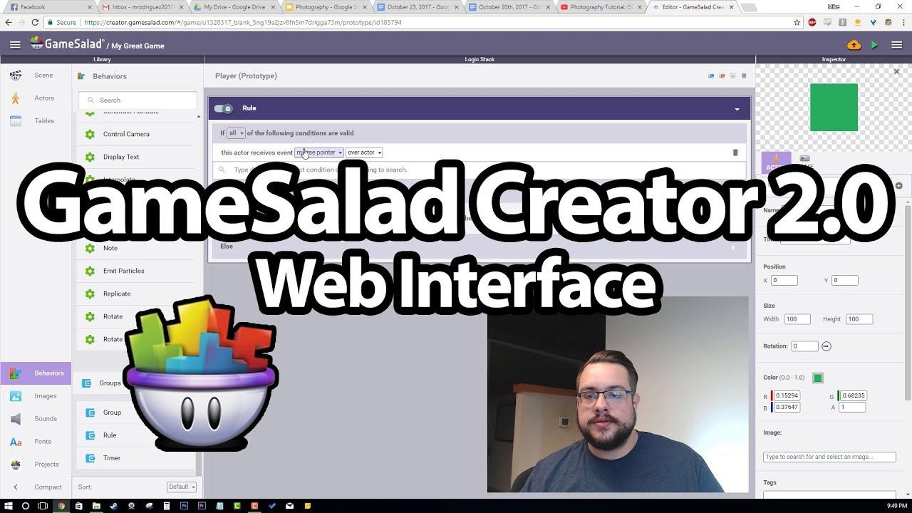 Gamesalad custom collider - Gamesalad Creator 2 0 Overview Web Interface