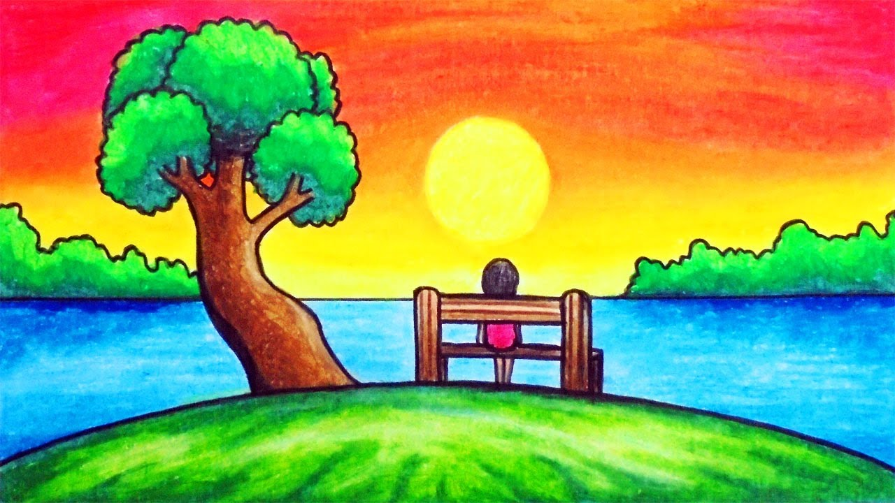 How To Draw Easy Scenery Drawing Beautiful Sunset Scenery Step By Step With Oil Pastels Youtube