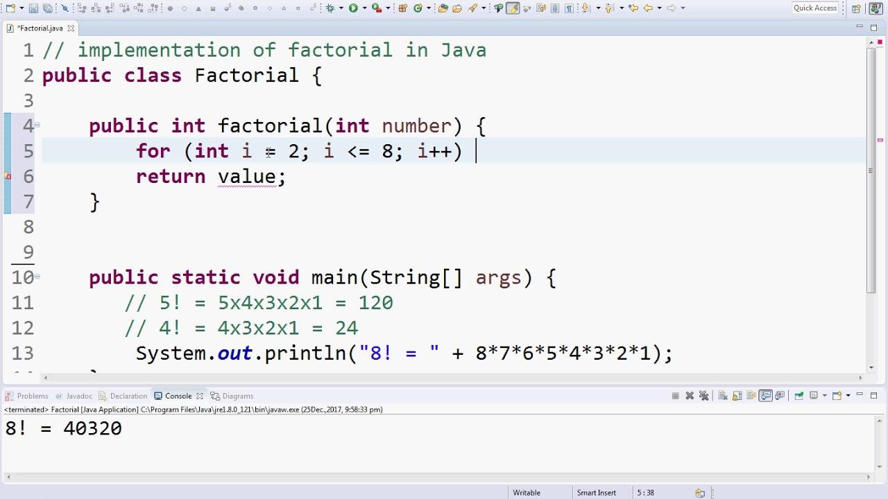 factorial program in java using while loop