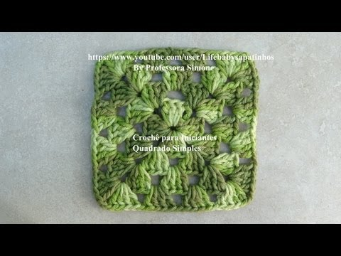 Crochê para iniciantes QUADRADO SIMPLES #crochet #aprendercroche ...