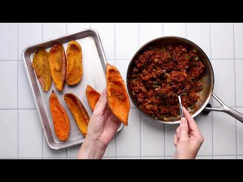 Chili Stuffed Sweet Potato Skins (Whole 30 friendly)