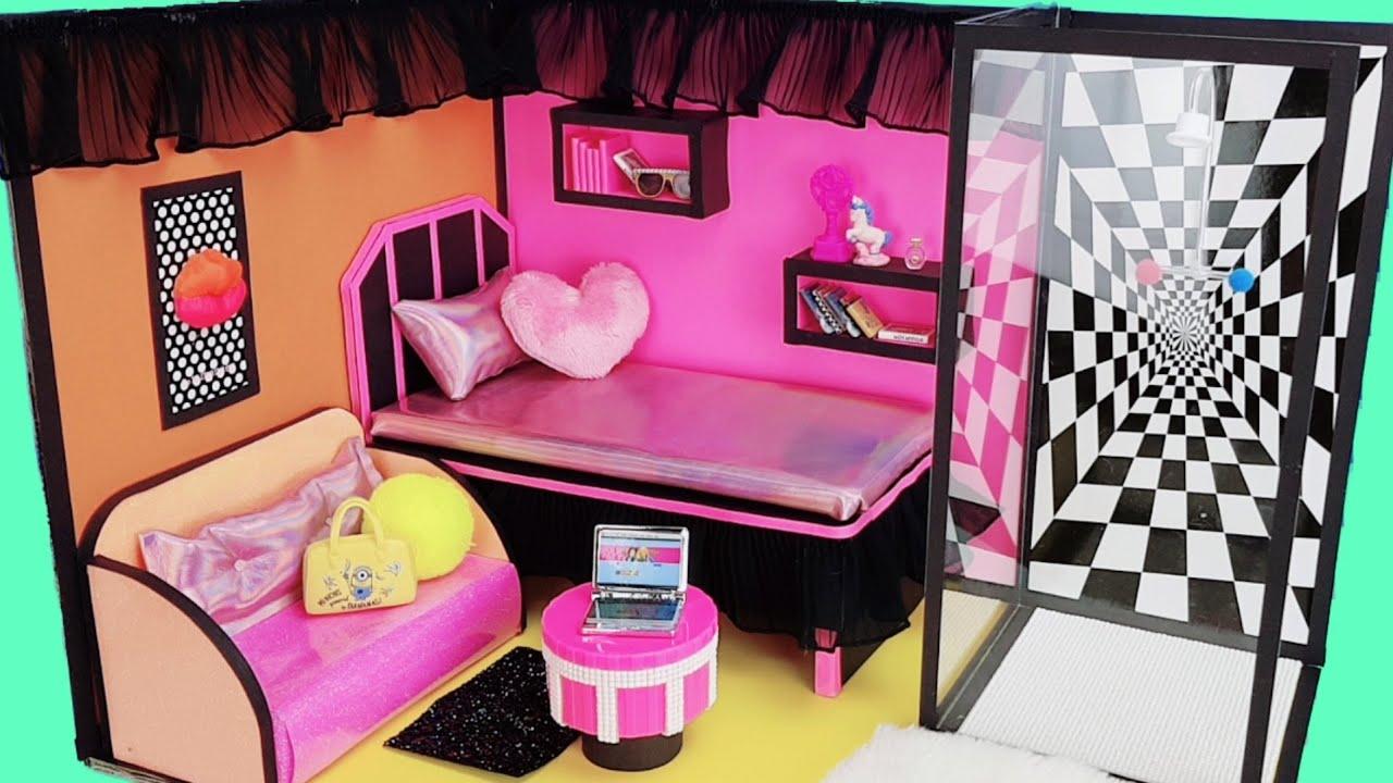 DIY Miniature Cardboard House #2 LOL Surprise Dream House Bedroom, Living room, Bathroom