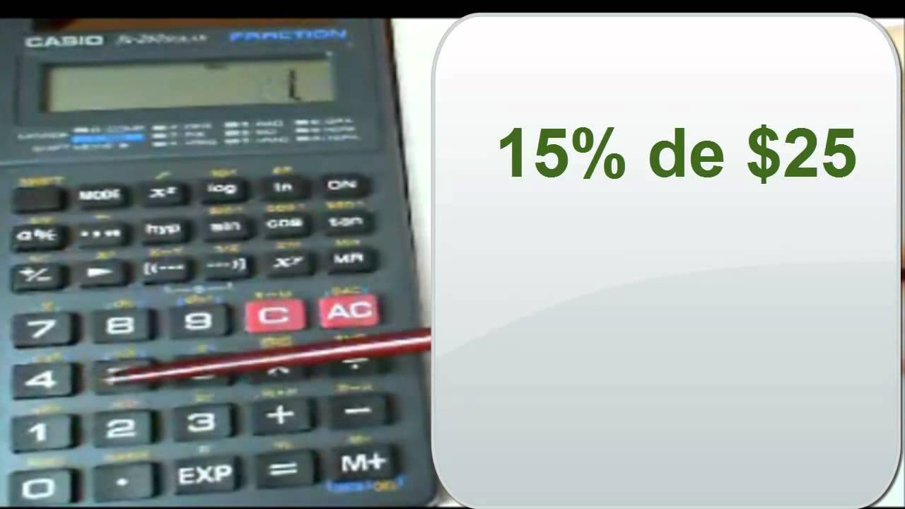 Porcentaje y calculadora Casio fx 260 solar YouTube