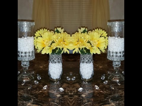 Dollar Tree DIY: Upgraded Bedazzled Candleholders/Wedding Centerpieces