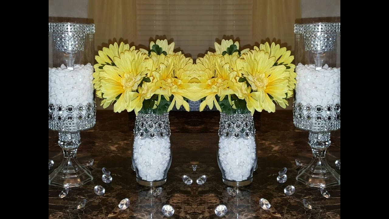 diy dollar tree centerpieces dollar tree diy upgraded bedazzled candleholders wedding 10720