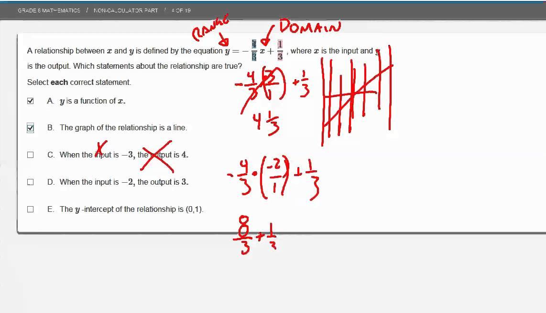 PARCC 8th grade math Practice part 2 section 1 problems 1 10 - YouTube