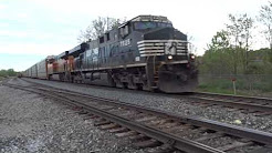 [a photo of the video] for NS 7525 GE ES40DC & BNSF 7400 GE ES44DC On Point Of Auto Rack Westbound In Erie PA