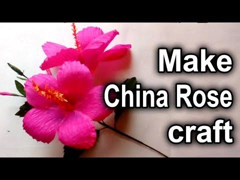 How to make China Rose craft/hibiscus crepe paper flower tutorials/জবাফুল
