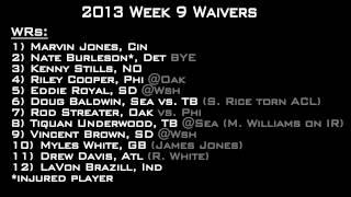 2013 Fantasy Football Week 9 Waivers and Bye Week Starts