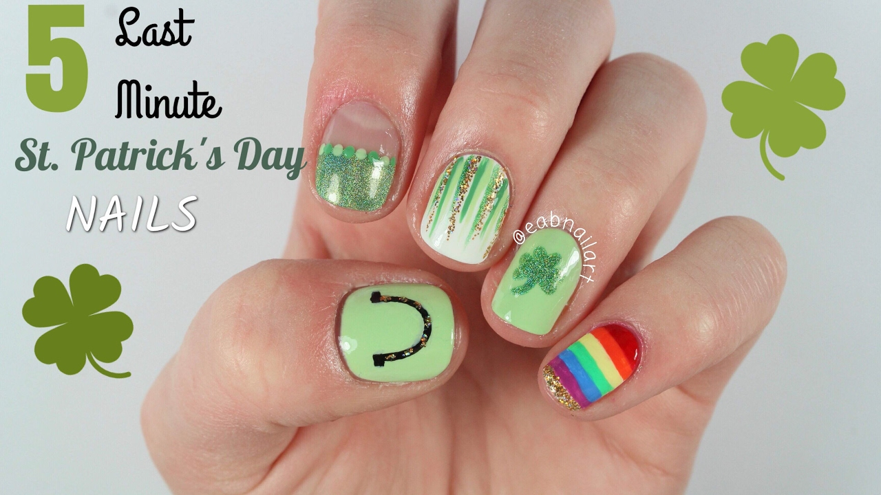 5 Last Minute St Patrick\'s Day Nail Art Designs - YouTube