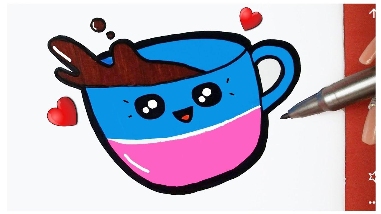 Como desenhar Xícara de Chocolate fofa Kawaii ❤ Desenhos Kawaii - Desenhos para Desenhar