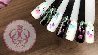 Цветочные дизайны ногтей гель лаками ♥ Легкие, простые, интересные идеи♥ Нежный маникюр на каждый де