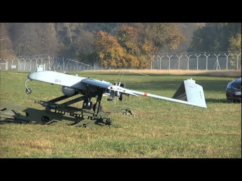 UAV Drone Catapult Launch from US Military Launcher System Video AAI RQ 7 Shadow at German Airfield