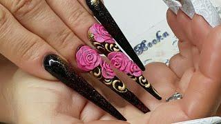 дизайн ногтей. форма ногтей стилет. Лепка розы гелем пластилин. Как рисовать вензеля