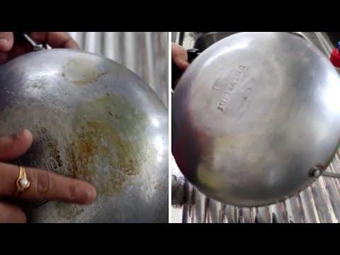 HOW TO CLEAN NON STICK KADAI/PAN BACKSIDE||RAMA SWEET HOME
