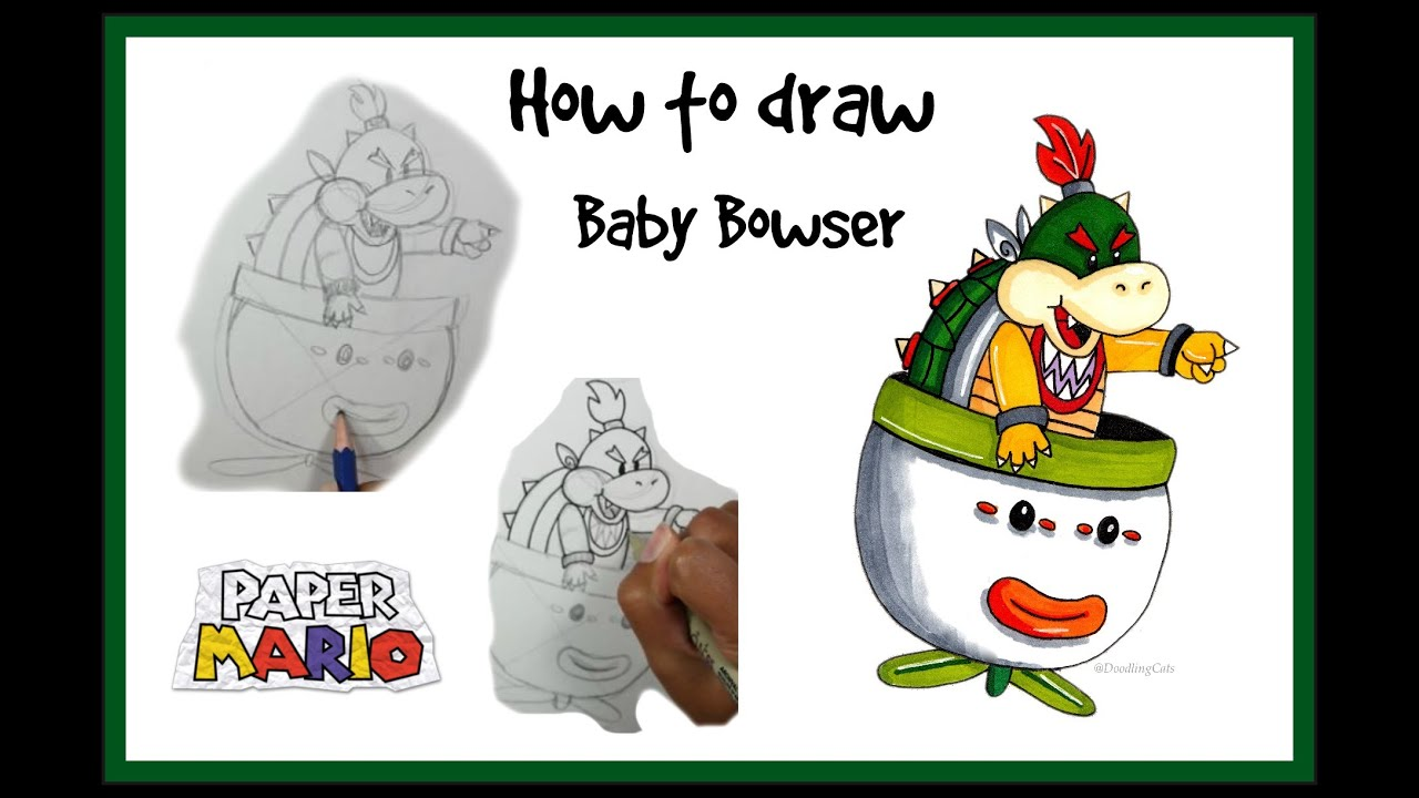 How to Draw Bowser Jr | Paper Mario | Step by and Coloring ...