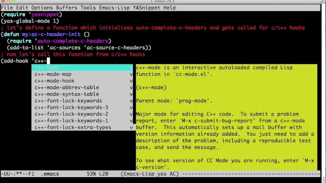 Emacs as a C/C++ Editor/IDE (Part I): auto-complete, yasnippet, and  auto-complete-c-headers