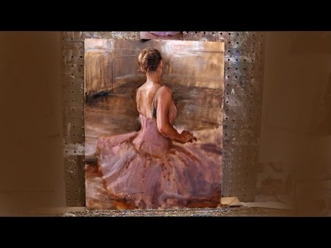 Oil painting techniques by Trent Gudmundsen - ballerina,  Part 1 of 2 (real-time)