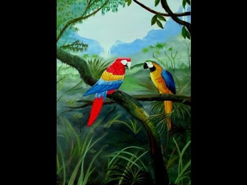 Quot Jungle Parrots Quot Colorful Acrylic Painting Youtube