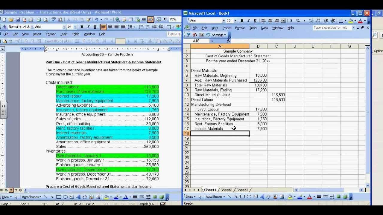 cost of goods manufactured and income statement sample mp4 youtube