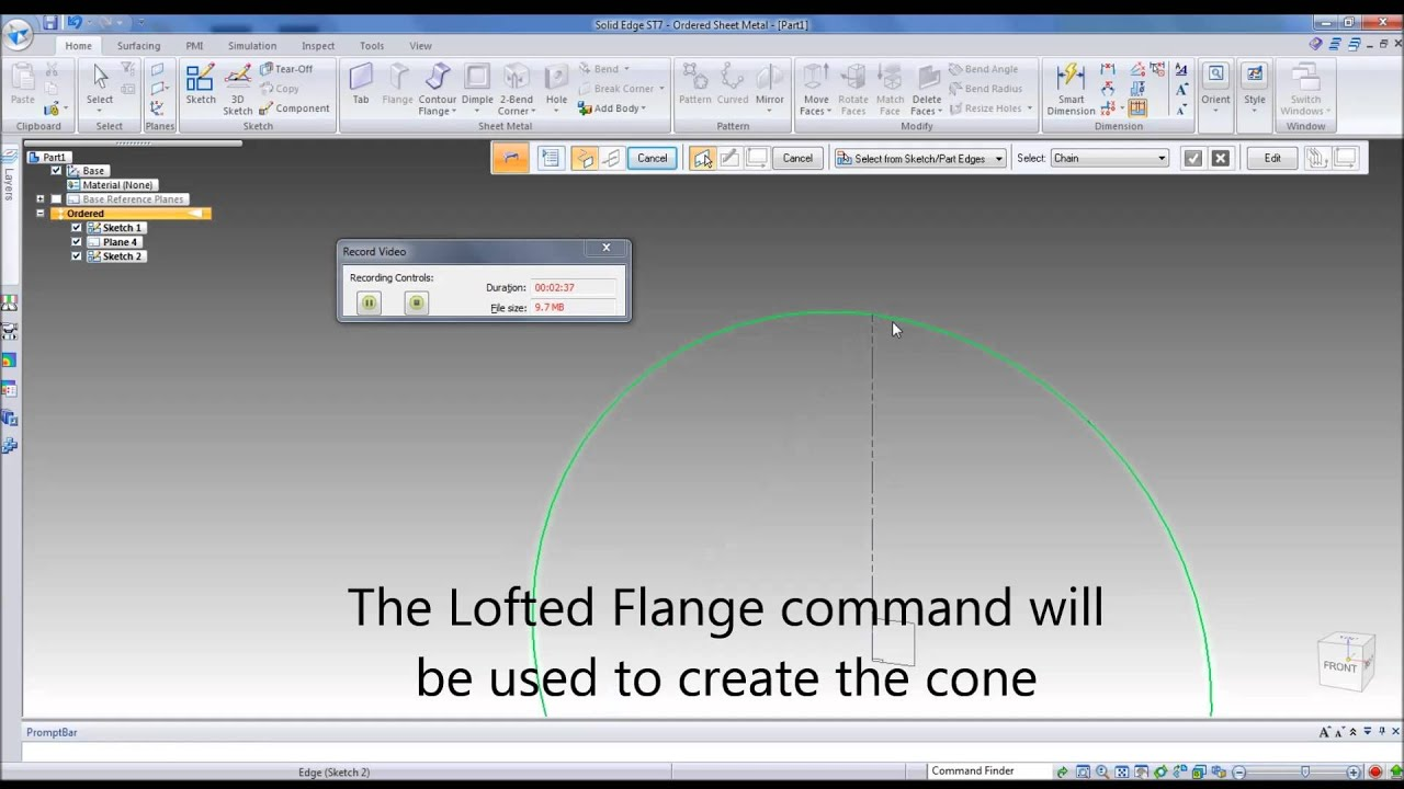 Sheet Metal Cone Creation And Unfold In Solid Edge Youtube