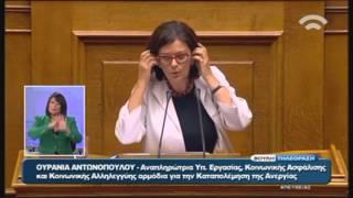 Προγραμματικές Δηλώσεις: Ομιλία Ο.Αντωνοπούλου (Αν.Υπ.Εργ.Κοιν.Ασφ.&Κοιν.Αλλ.) (07/10/2015)