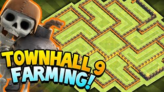 Clash of Clans - TOWN HALL 9 ULTIMATE STORAGE PROTECTION!! Town hall 9 Amazing Farming BASE!