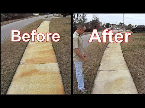 Pressure Wash - Remove Rust Stains from Concrete Sidewalk - Winter Weed Control Update